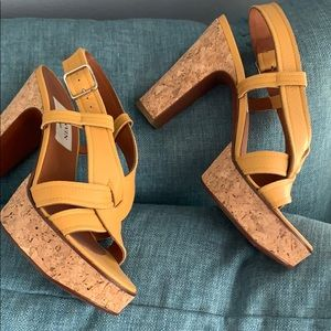 LANVIN leather cork heeled sandals is mustard -NEW
